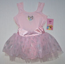Nwt New Capezio Disney Princess Leotard Dress Skirt Pink Heart Holo Cute Girl