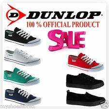 NEW WOMENS DUNLOP LACE UP CANVAS FLAT PUMPS PLIMSOLLS TRAINERS LADIES SHOES SIZE