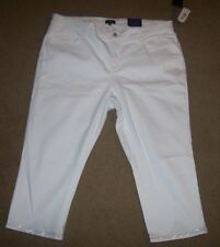 NYDJ Not Your Daughters Jeans ADDIE optic white crop capri embellished legs plus