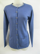 LADIES EX-CHAIN STORE BLUE LONG SLEEVE BUTTON UP CARDIGAN WITH POCKETS