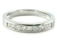 PLATINUM CHANNEL SET PRINCESS CUT DIAMOND HALF ETERNITY WEDDING BANDS RINGS