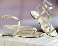 Monore and Main Gold Metallic Ankle Strap Flat Sandal Grecian NEW