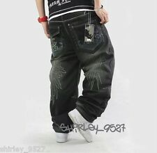 New Mens HipHop Jeans Ecko Denim Baggy Loose Pants Trousers Embroidery Hip Hop