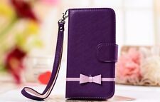 Sweet Bow Leather Wallet Case for Samsung Galaxy Note 2, Note 3 + Free Gift