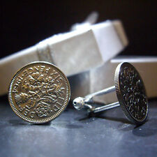 PAIR 60th BIRTHDAY 1954 6d SIXPENCE COIN CUFFLINKS PLUS OTHER YOURS 1947 - 1967