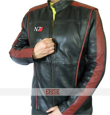 N7 Black Mass Effect 3 Real Leather Jacket  - With 100% MONEY BACK GUARANTEE!!