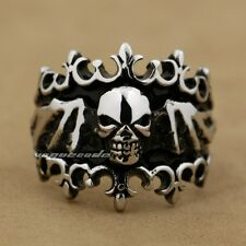 316L Stainless Steel Skull Wing Crown Mens Biker Rocker Ring 6Q001