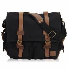 Veevan Men's Vintage Canvas Leather School Military Shoulder Bag Messenger Bag