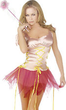 Ladies Womens Pink Fairy Fancy Dress Tutu Silky Fairies Cute Godmother Wand
