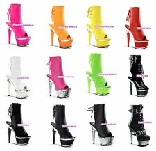 "PLEASER ILLUSION-1018 1019 1012 Sexy 6 1/2"" Textured Heel Platform Ankle Boot"