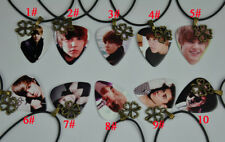 Justin Bieber Guitar Pick Necklace , Metal Four-leaf Clover Lucky Leather Cord