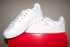 Women's NEW Puma Palermo Patent L White Leather Shoes with White Patent Trim