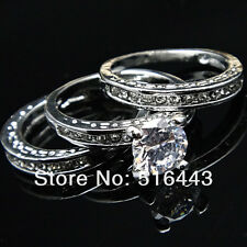 18k WHITE GOLD PLATED THREE PIECE WEDDING RING SET with CUBIC ZIRCONIUM - UK