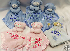 personlised baby comforter, bear blanket, 3 colours, 4 words included in price