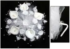 New! Bridal - Quinceanera - Sweet 15 Hand-Made Bouquet - White ( # E18910 )
