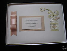 Personalised Peach and Cream WEDDING GUEST BOOK + BOX Vintage Birdcage design