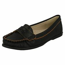 LADIES BLACK SLIP ON MOCCASIN FLAT CASUAL SHOES/ LOAFER- SPOT ON F8974