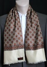 CREAM BROWN RED & GOLD GEOMETRIC PRINT VINTAGE 1960S SCARF MOD INDIE SCOOTER