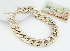 Punk Style Chunky Curb Chain Shiny Fashion Choker Necklace, Gold