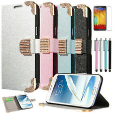 Diamond Bling Flip Leather Case Hard Cover For Samsung Galaxy Note3 III N9000