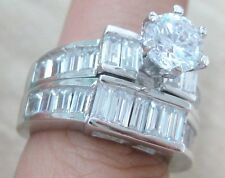 925 STERLING SILVER Baguette CZ Bezel BRIDAL SET ENGAGEMENT & WEDDING Band L N R