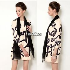 HOT 2014 Spring Women Black and Apricot Letter Winter 3/4 Sleeve Print Dress CO9