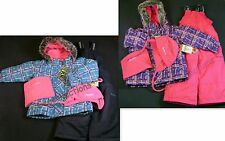 OshKosh Girls 4-PC Wind Resistant Plaid Snowsuit Jacket~Bib~Hat~Neck Warmer NWT