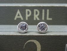 Silver Birthstone Ear Studs - April Clear Made with Swarovski Crystals Sterling