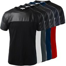 New Mens Premium Faux Leather Raglan Mixed Media Short Sleeve T Shirt [NEMT03]