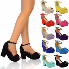 Ladies Sandals Womens High Mid Heel Platform Ankle Strap Wedge Shoe Size