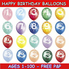 HAPPY BIRTHDAY BALLOONS HELIUM QUALITY AGES 1-100 MIXED COLOURS PACKS OF 5