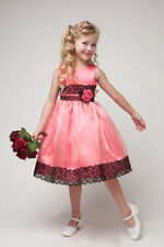 Kid Collection Pink Satin Lace Organza Flower Girl Dress Size 2-12
