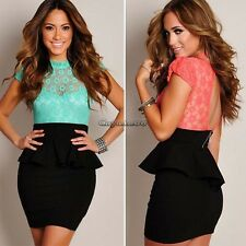 Sexy Hot Womens Floral Lace Black Peplum Party Cocktail Dress Tunic Bodycon CaF8