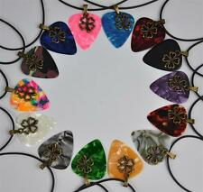 Medium 0.71mm Guitar Pick Necklace , Metal Four-leaf Clover Lucky Leather Cord