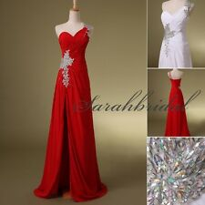 Black Red Beads Prom Party Dresses In Stock Cheap HIgh Slit Formal Evening Gowns