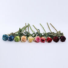 "15"" Artificial Silk Flower Rose Stem Bridal Wedding Bouquet Party Home Decor"