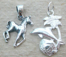 NEW 925 STERLING SILVER plain HORSE or DOLPHIN + coconut tree + SEASHELL pendant