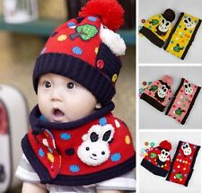 New Baby Toddler Kids Rabbit Printed Winter Warm Hat with Scarf / Neckerchief