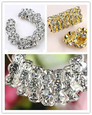 Gold/Silver Plated Rondelle Wave Rhinestone Crystal Spacer Bead A+ 100pcs