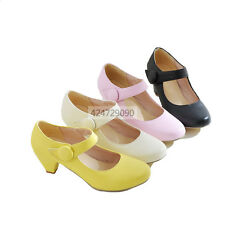 Hot Womens Ladies Mid Kitten Heels Ankle Strap Pumps Miss Causal Shoes YD353