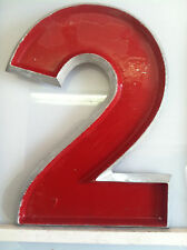 """Vintage Cast Metal Movie Marquee Sign Letters ~ Red with Silver Trim 12"""" Tall"""