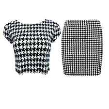 NEW WOMENS LADIES DOGTOOTH PRINT MINI SKIRT PARTY CROP TOP TWO PIECE SET SUIT