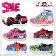 BRANDED CHILDREN GIRLS BOYS DISNEY TRAINERS CHARACTER SHOES PUMPS PLIMSOLLS SIZE
