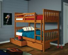 TWIN OVER TWIN BUNK BED W DRAWERS OR TENT KIT OPTION - HONEY