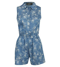 Connie Sleeveless Floral Print Chambray Playsuit in Denim