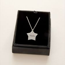 Engraved Star Pendant Necklace Solid Silver on Chain with Engraving Jewellery
