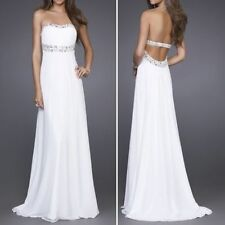 White Long Chiffon Formal Evening Party Ball Gown Prom Bridesmaid Wedding Dress