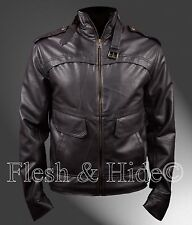 Air Force Bomber Jacket with Mock Collar and Removable Collar Belt