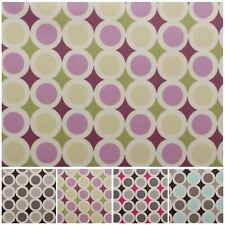 Retro Circles Print Table Cloth Protector Outdoor PVC Wipe Clean Oilcloth Fabric