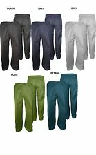 """MENS STRETCH WAIST RUGBY TROUSERS (T40) IN WAIST 32 TO 62"""", L29/31/33, 6 COLORS"""